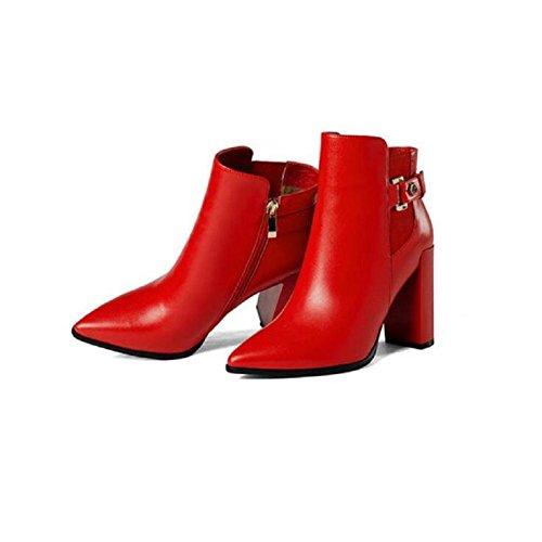 YYH Documentaire de brut fait chaussures de bottes de cheville bottes talon haut en cuir Slim Boot féminine Red