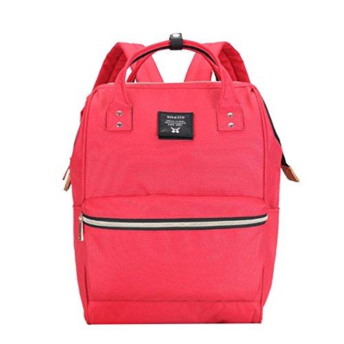 CHENGYANG Mädchen Jungen Schultasche Canvas Rucksack Handtasche Wanderrucksack Reisetasche 12 Zoll Laptoprucksack Rot