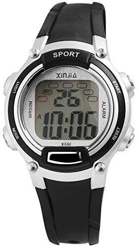 XINJIA - Reloj de Pulsera para Hombre (Digital, Fecha, Alarma, luz, plástico, Silicona, Cuarzo), Color Plateado y Negro