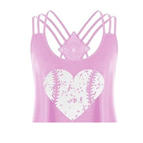Bluse für Damen FGHYH Ärmelloses, langärmliges Cross-Top für Damen mit gefärbtem Rundhals-Komfort-T-Shirt(XXL, Rosa)