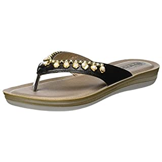 INBLU Women's Bianca Flip Flops, Black (Nero 014), 6 UK