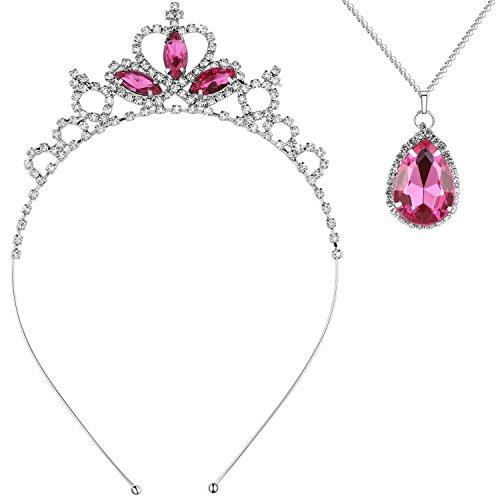 ArDeco Mädchen Haarreif Prinzessin Kristall Tiara Mädchen Geburtstagshaarreif Blinkende Diadem Haar Zusätze Mädchen Party Accessoires (Rosa Rot Set)