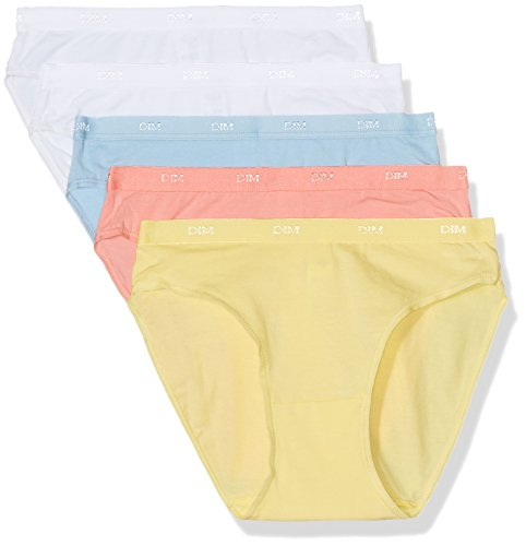 DIM 4H00, Mutandine Donna, Multicolore (Rose Corail/Jaune Jonquille/Blanc/Bleu Polaire/Blanc), S (taglia fabricante: 40/42), (pacco da 3)