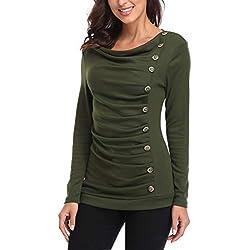 MISS MOLY Camisetas Mujer Manga Larga Tops Y Blusas Camisa Túnica Tops Basicas Verde Large