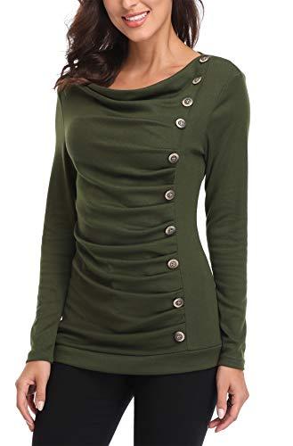 Miss Moly Damen Langarmshirt Pullover Tunika Bluse T Shirt mit Knöpfen Grün Large