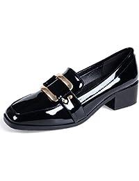 Jamron Mujeres Elegante Punta Cuadrada Talón de Bloque Charol Hebilla Señoras Oficina Zapatos ...