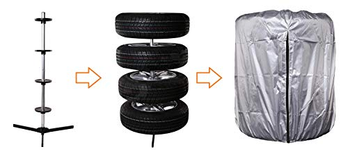 Bresetech Reifenständer Felgenständer Ständer Baum Halter Reifenbaum Felgenbaum Reifenhalter Felgenhalter für 4 Reifen bis 225mm MIT oder OHNE Reifentasche (Ständer+Reifentasche)