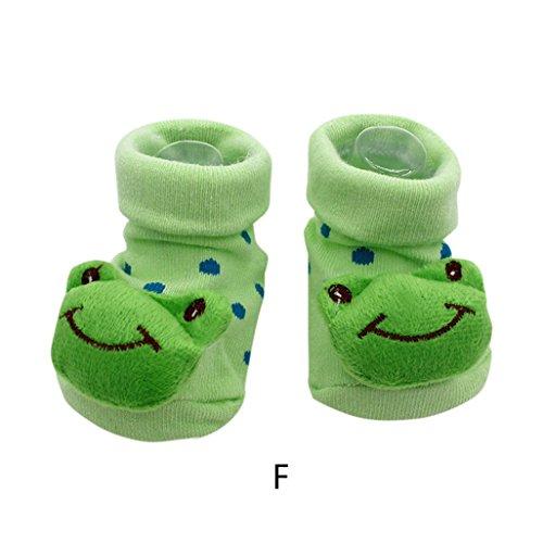 Vovotrade 15 verschiedene Karikatur Neugeborene Baby Jungen Anti Rutsch Socken Hefterzufuhr Schuh Aufladungen (F)