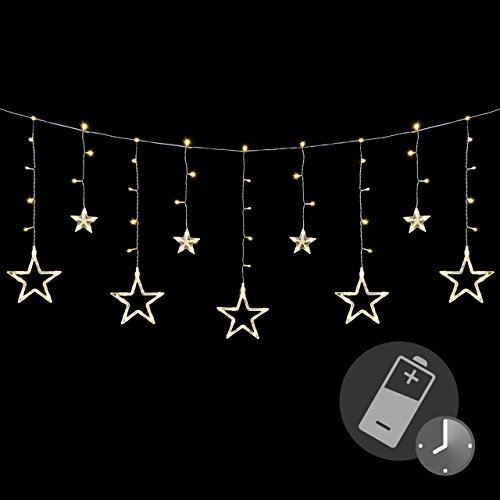 Sternenvorhang 138 LED warm weiß Lichterkette Lichtervorhang Fernbedienung Timer Batterie Partydeko 9 Funktionen Funktionslichterkette