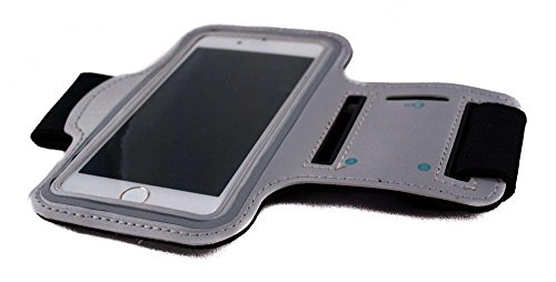 THE CASE MARKET Gray Sport-Armband Gym, Arm-Halter für Iphone, Samsung, HTC, Nokia, Huawei, Sony, LG und andere