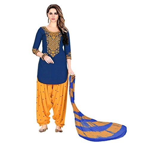 Beautiful Look Georgette Fabric Embroidered work Semi-Stitched Salwar Suit (Blue)