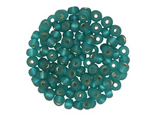 Creative-Beads Rocailles, böhmische Glasperlen, 4,5mm, Döschen 15g, Silbereinzug, matt petrol um Schmuck, Deko, Armband selber zu machen oder basteln