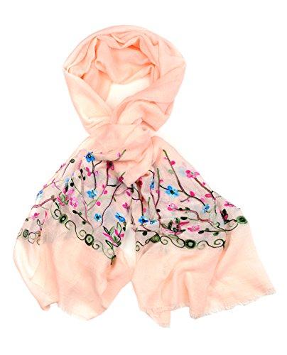Foulard écharpe de printemps à brodé floral. Produit offert par NYFASHION101. Fleur Sauvage, rose pâle