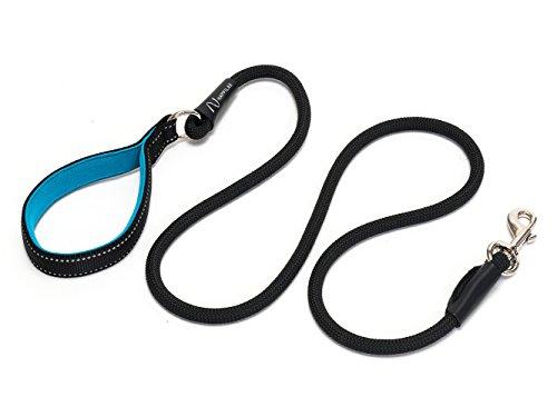 Happilax correa perro de cuerda redonda con asa acolchada, resistente y reflectante, negra, 1,50 m