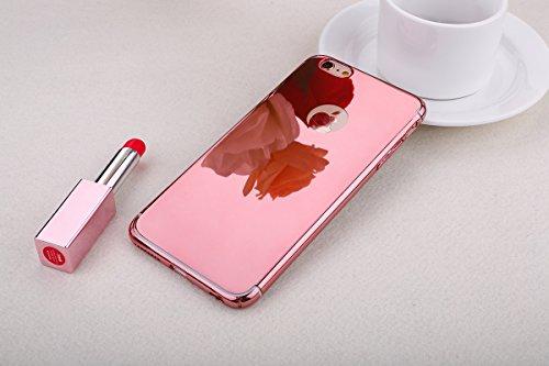 JAWSEU iPhone 6 Plus 5.5 Zoll/6S Plus 5.5 Zoll Diamant Tpu Hülle,Luxus Rose Gold Strass Rahmen Glitzer Weiche Silikon Soft Gel Ultra Dünne Perfekter Schutz Helle Glänzende Strass Tpu Schale Zurück Sch Mirror,Rose Gold