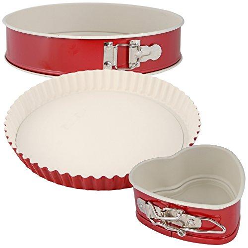 Patisse rote Backformen Springformen - Quicheform aus Keramik mit Antihaft (Set 1 (Springform 28 cm, Quicheform, Herzspringform))