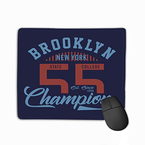 Mouse Pad Design Letters Brooklyn New York Champion Numbers Rectangle Rubber Mousepad 11.81 X 9.84 Inch (Champion-wc)