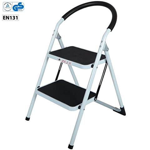 CrazyGadget 2 Step Ladder with Rubber Grip Tread Safety Non Slip Folding Step Ladder Kitchen Stool Home Garden Tool DIY -