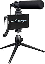 Maono AU-CM10S Super Cardioid Condenser Video Shotgun Microphone Kit, Vlog Mic with Wind Foam and Tripod for i