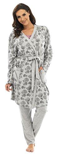 Damen Bademantel Sommer Baumwollemischung Leicht Robe Grau