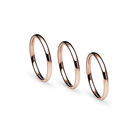 Stackable 3 Piece Set Rose Gold Tone Stainless Steel Plain Comfort Fit Wedding Band Ring, Size 6, L