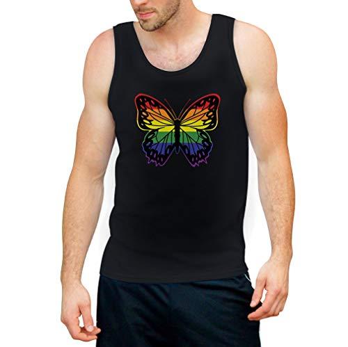 Butterfly-baumwolle-tank Top (Shirtgeil LGBT Männer Tank Top CSD Pride Parade Gay & Lesbian Rainbow Butterfly Tank Top Medium Schwarz)