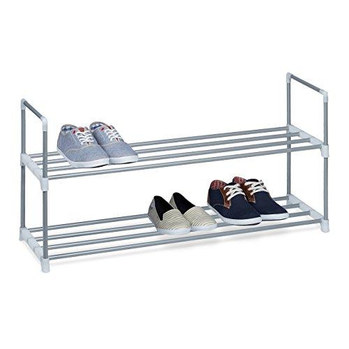 Relaxdays Schuhregal HBT: ca 45 x 90 x 30 cm Schuhschrank aus pulverbeschichtetem Metall mit 2 Ablagen als Schuhkommode und Schuhaufbewahrung beliebig erweiterbar...