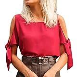 MIRRAY Damen-Sommer-Art- und Weisereine Farben-runder Ansatz-Blusen-beiläufiges kaltes Schulter-Hemd