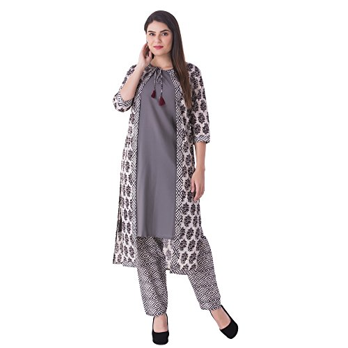 Khushal Women S Cotton Printed Jacket Kurti With Pants Kk53 Grey M