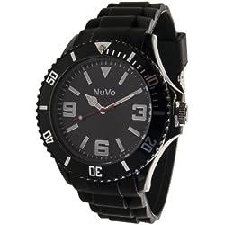 Nuvo - NU13H01 - Unisex Armbanduhr - Quartz - Analog - Schwarzes Zifferblatt - Schwarzes Armband aus Silikon - Modisch - Elegant - Stylish