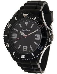 NuVo - NU13H01 - Montre Mixte tendance- Quartz Analogique - Cadran Noir - Bracelet Silicone Noir