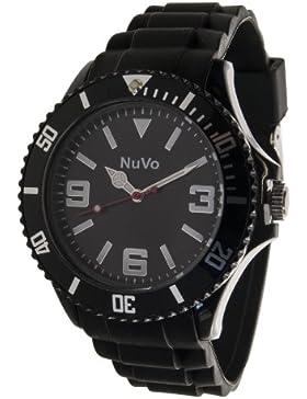 Nuvo - NU13H01 - Unisex Armbanduhr - Quartz - Analog - Schwarzes Zifferblatt - Schwarzes Armband aus Silikon -...
