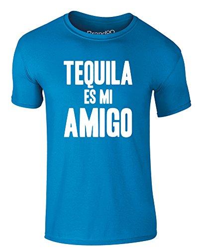 Brand88 - Tequila es mi Amigo, Erwachsene Gedrucktes T-Shirt Azurblau/Weiß