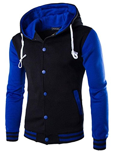 Jeansian Hommes Manteau Personality Hoodie Sweater Men Baseball Jacket 9347 blue