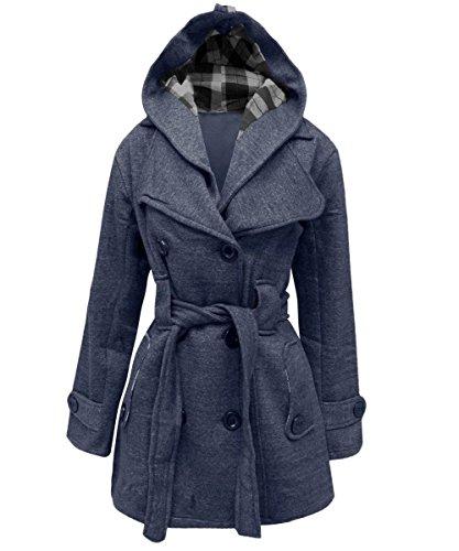 Belted Denim Mantel (janisramone Damen Damen New Gürtel Fleece Mantel mit Kapuze warm Button Up lange Ärmel Jacke Top Gr. 50, denim)