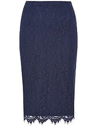Roman Originals Women's Lace Pencil Skirt Ladies Blue Navy
