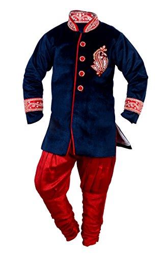 Arshia Fashions Boys Sherwani Kids Wear Party Wear - Velvet - Blue Red