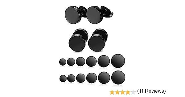 8 mm en Acier Inoxydable Noir Mat Rond Boucles Doreilles D/éfinies Pour Hommes Femmes Unisexe Piercing Boucles Doreilles Yadoca 12 Pairs 3 mm