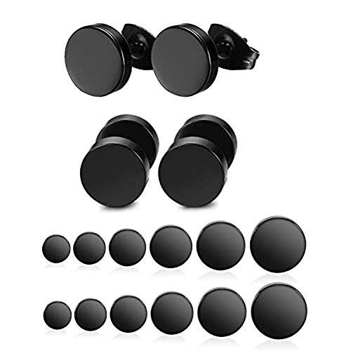 Yadoca 12 Paare 3 mm - 8 mm Edelstahl Schwarz Matt Runde Ohrstecker Set für Männer Frauen Unisex Piercing Ohrringe