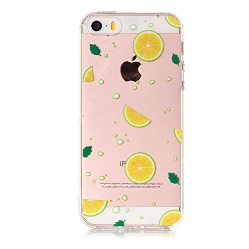 Cover iPhone 5S (4.0 pollici) Spiritsun iPhone 5 Custodia TPU Moda Elegante Case Cover Soft Silicone Back Cover Protezione Bumper Funzione Shell Morbida Flessible TPU Cover Per iPhone 5S/5/SE (4.0 Pol Limone