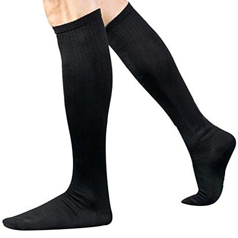Famille Chaussette Sport Masculin, Chaussettes Longues sur le Genou Chaussette Haute (Noir, Longueur des chaussettes: 43 cm)