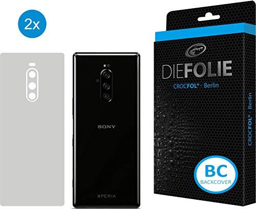 Crocfol Rückseitenschutz für Sony Xperia 1: 2X DIEFOLIE Schutzfolie, 1x DASFLÜSSIGGLAS flüssiges Glas - Backcover Folie zum Schutz der Rückseite