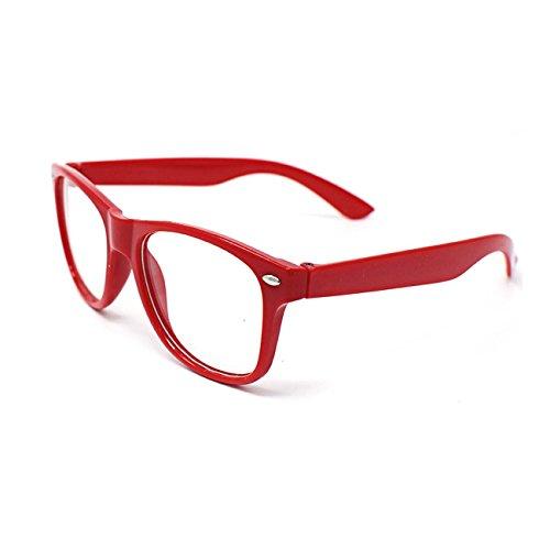 Ultra ® Rot Kinder im Klassischen Stil mit Mehrfarbiger Klarer Linse Klassische Rahmen Perfekt für Kostüme Parteien Brillen Geschenk Kinder-Nerds Geek Hipsters Look World Book Day Cosplay Kostüm Unisex