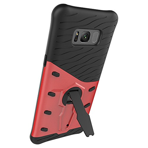 Für Samsung Galaxy S8 Plus Case Tough Hybrid Heavy Duty Schock Proof Defender Cover Dual Layer Rüstung Combo Mit 360 ° Swivel Stand Schutzhülle Fall ( Color : Red ) Red