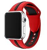 Aresh für Apple Watch Series 3 Zubehör Band, Quick Release Soft-Silikon-Kautschuk-Uhrenarmband für Apple Watch Series 3 / Serie 2 / Serie 1 (A-Rot/Schwarz 42mm)