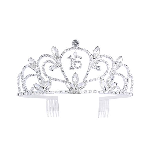 Frcolor Strass Sweet 16 Tiara Crystal Crown für 16. Geburtstagsgeschenk Party Crown Kamm Hair Clip Stirnband