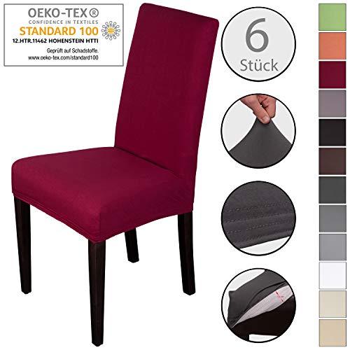 Staboos Stuhlhussen 6er Set aus 96% Baumwolle - Bi-elastische Stretch Stuhlüberzüge - Universal Stuhlbezug - Stuhlabdeckung waschbar &...