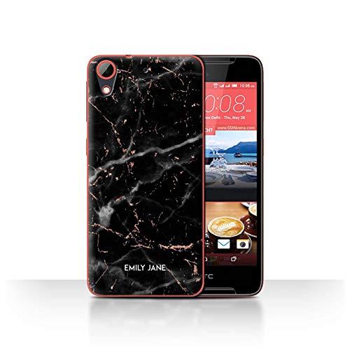 Personalisiert Individuell Roségold Glitter Marmor Hülle für HTC Desire 628 / Schwarzer Marmor Glitter Stempel Design/Initiale/Name/Text Schutzhülle/Case/Etui