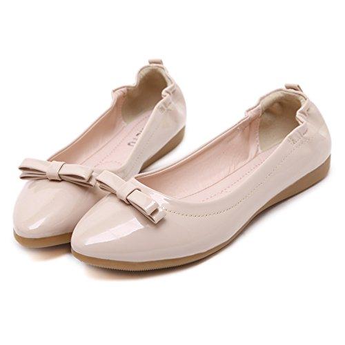 Smilun Damen Ballerina Spitze Faltbar Loafer Elastische Fersenabdeckung mit Schleifen Khaki