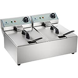 Royal Catering Freidora Doble Industrial Eléctrica Profesional RCEF-10DY-ECO